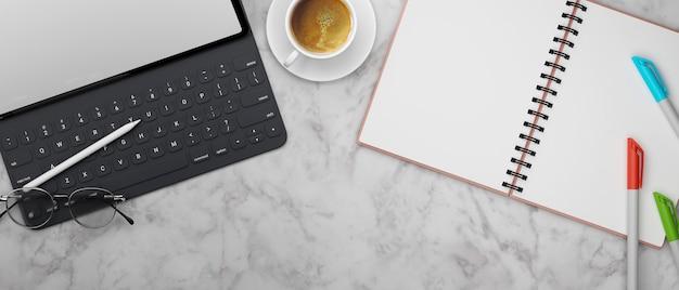안경 노트북 및 펜 3d 렌더링 대리석 책상에 모형 화면 및 액세서리가있는 디지털 태블릿