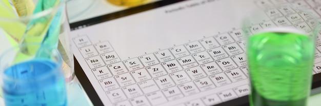 실험실 근접 검사에서 테이블에 누워 있는 요소의 주기적인 시스템이 있는 디지털 태블릿