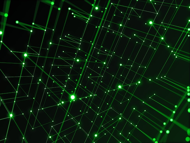 Digital technology network connecting with line abstract background, green theme.