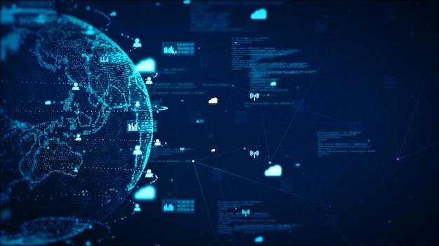 디지털 기술 네트워크 데이터 및 통신 개념 추상적 인 배경입니다. nasa가 제공 한 지구 요소