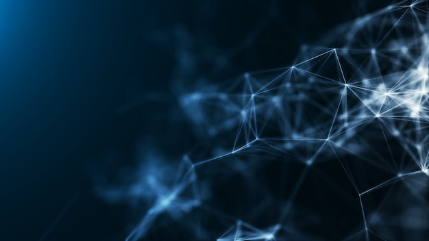 Цифровые технологии полигональных синий абстрактный фон цифровая низкополигональная структура концепции больших данных