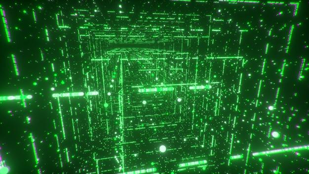 Digital technology tunnel. big data digital square corridor with futuristic matrix