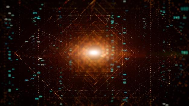 Цифровой туннель киберпространства с частицами и цифровыми данными