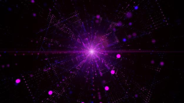 Цифровой туннель киберпространства с частицами и освещением