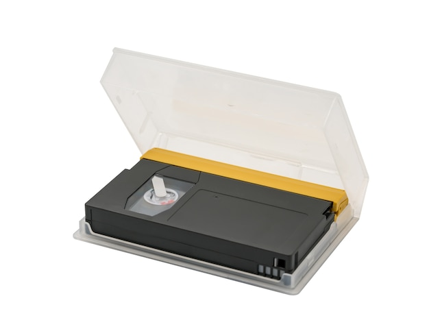 Digital video tape in black and gold colors with clear plastic packaging box