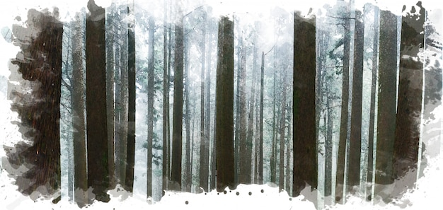 Digital watercolor painting of direct sunlight through trees with fog in the forest