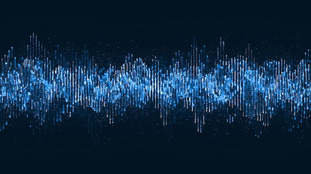 Цифровая волна частиц музыки и мелких частиц танцевать движения на волне для цифрового фона.