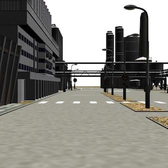 デジタルレンダリングされた3d工業地帯の建物のイラスト。