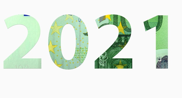 Digits 2021 from euro banknotes isolated on white background, money texture