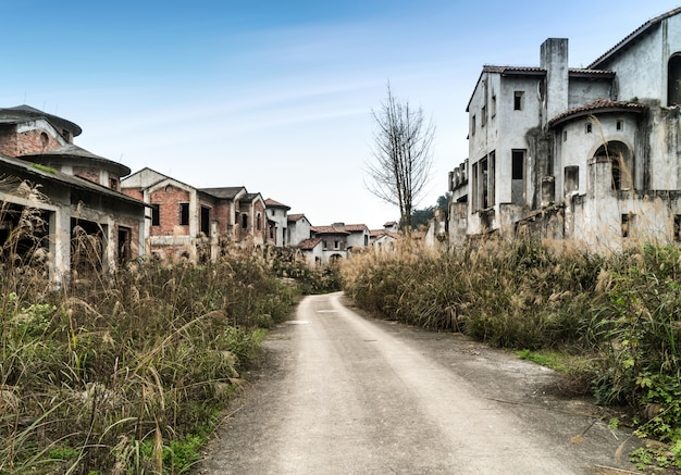 The dilapidated villas are in the outskirts