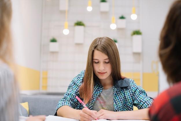 Diligent student doing homework