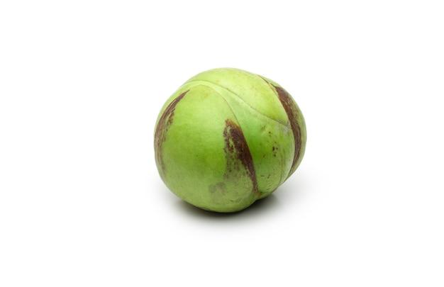 격리된 흰색 배경에 있는 딜레니아 인디카 또는 코끼리 사과 생 녹색 과일