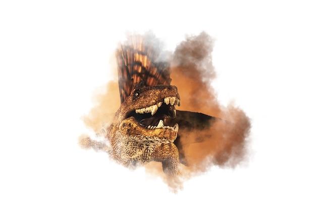 煙の背景にディメトロドン恐竜