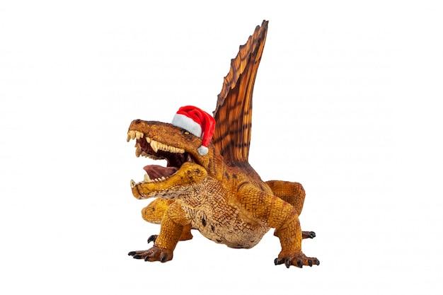 Dimetrodon  dinosaur with christmas hat