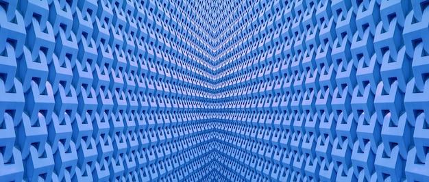 コーンフラワーブルーの対称性の3dアーキテクチャパターンと線の視点の減少