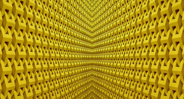 Diminishing perspective of a symmetry 3d architectural lines in yellow color