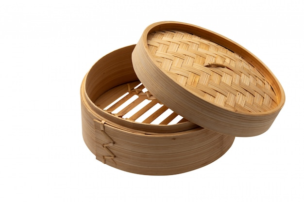 Dimsum container chinese japanese food  steam with clipping path on white