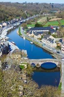 Dinan town, brittany, france. the harbour on the banks of the rance river.
