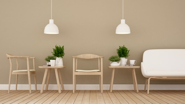Dining area in coffee shop or restaurant - 3d rendering