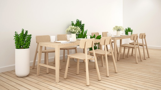 Dining area in coffee shop  or restaurant clean design - 3d rendering