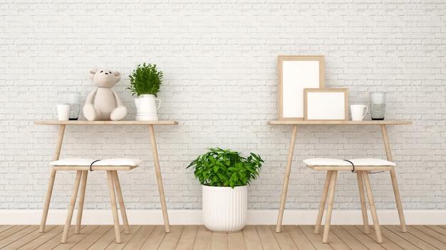 Столовая в кафе или детской комнате - 3d рендеринг