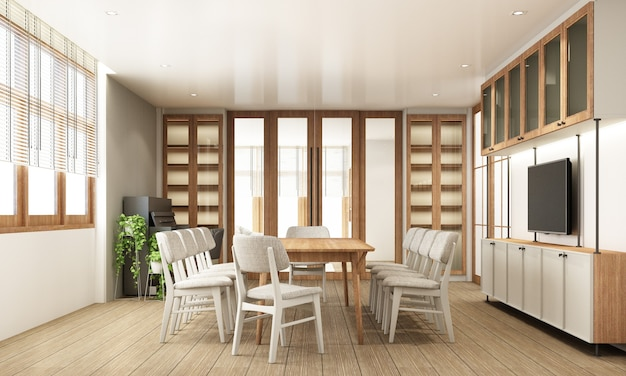 Dining area in modern contemporary style interior design with wooden window frame and sheer with grey furniture tone 3d rendering