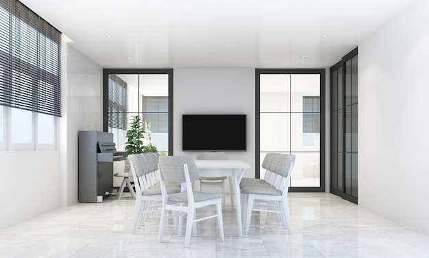 Dining area in modern contemporary style with wooden window frame and sheer with grey furniture tone, 3d rendering