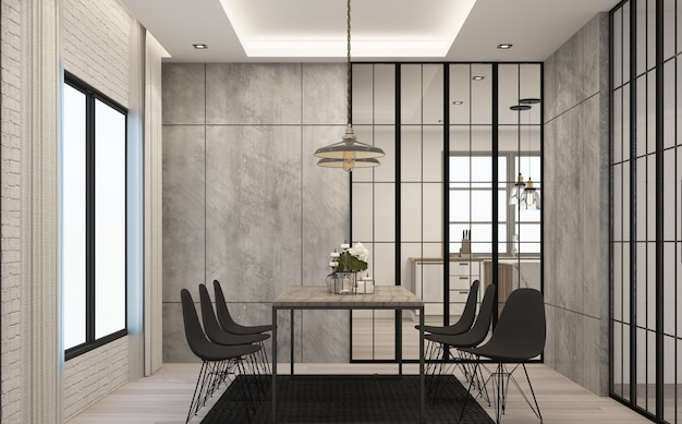 Обеденная зона в современном стиле лофт в доме из бетона и дерева с диваном.