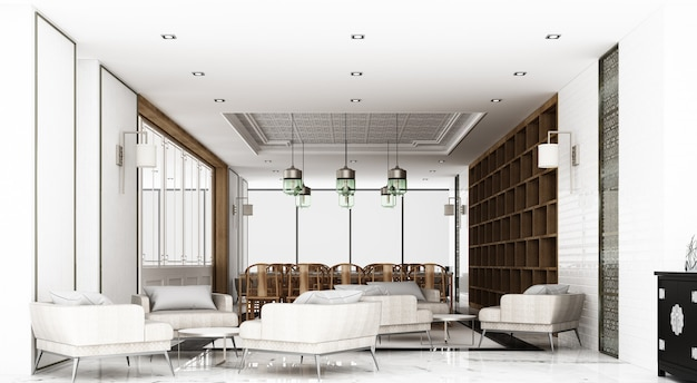 Dining area and waiting area. decorate chinese style and pattern using wood and marble materials and gray armchair and wooden chinese chair. 3d rendering