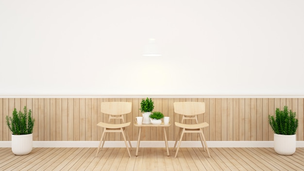 Dining area and wall decorate in coffee shop or restaurant