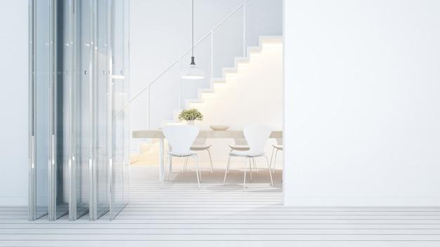 Dining area white tone in home or condominium - 3d rendering