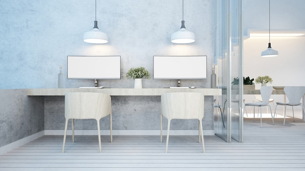 Dining area and workspace white tone in home or apartment