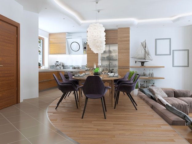 ダイニングテーブルと明るい色の木製家具を備えたキッチン家具を備えたモダンなスタイルのダイニングキッチンデザイン。
