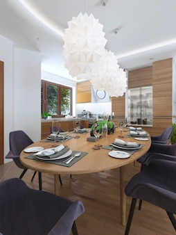 Dining kitchen design in a modern style with a dining table and kitchen furniture and furniture in bright color.