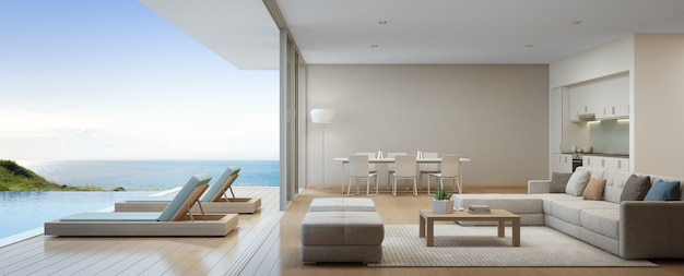 Dining and living room of luxury beach house