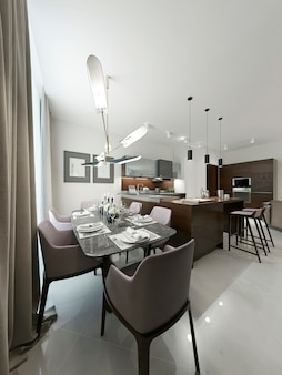 Dining room contemporary design in white interior.