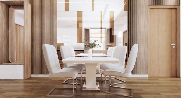 거울이 있는 현대적인 스타일의 식당은 벽 3d 그림을 장식합니다.