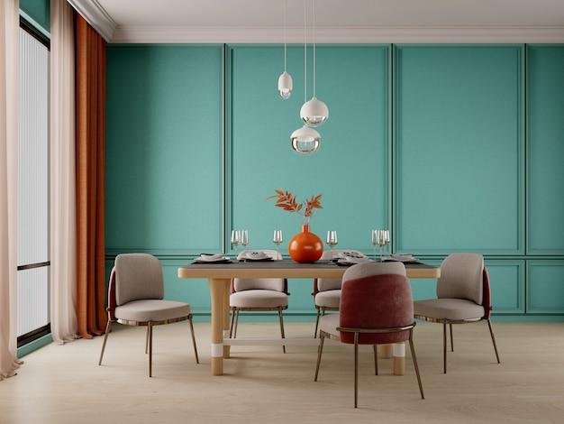 Дизайн столовой с зеленой стеной, светильником и деревянным полом
