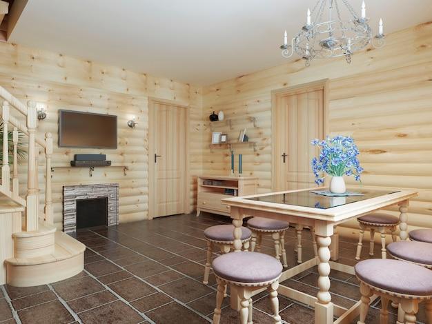 바닥에 갈색 타일과 밝은 목재 벽이있는 통나무 내부의 식당