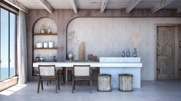 식당 인테리어 디자인. 벽은 스칸디나비아 인테리어를 조롱합니다. 내부 벽을 조롱합니다.
