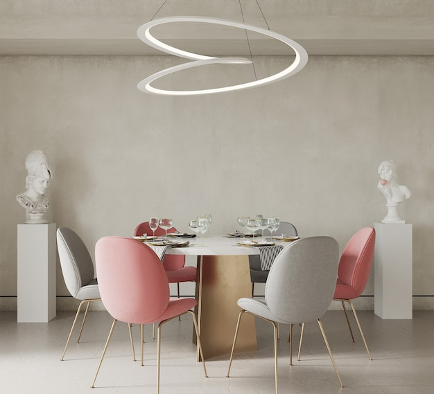 Dining room interior with decor