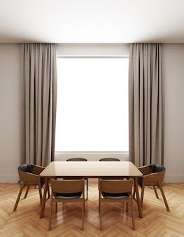 Dining room interior with window light