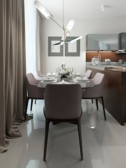 Dining room in modern design in white interior.
