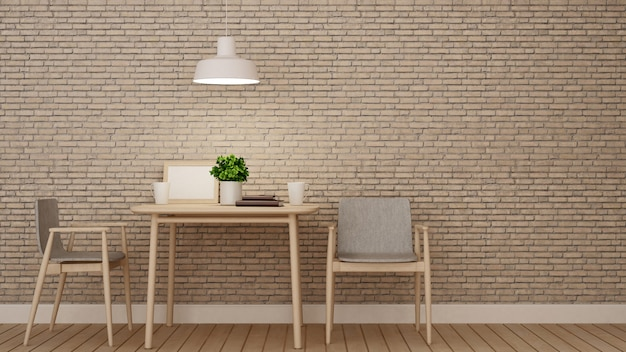 Dining room or restaurant on brick wall decoration