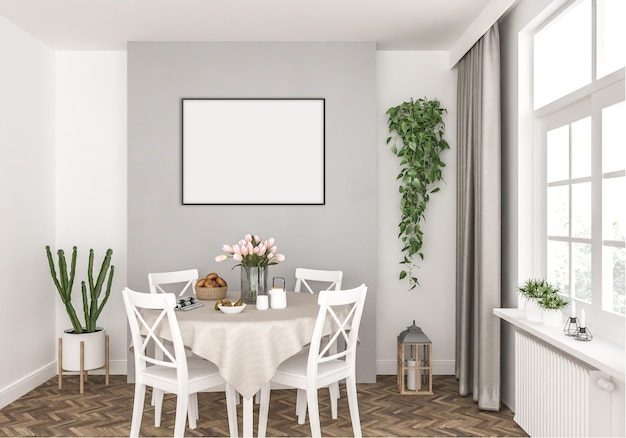 Dining room witch horizontal photo frame hanging in wall