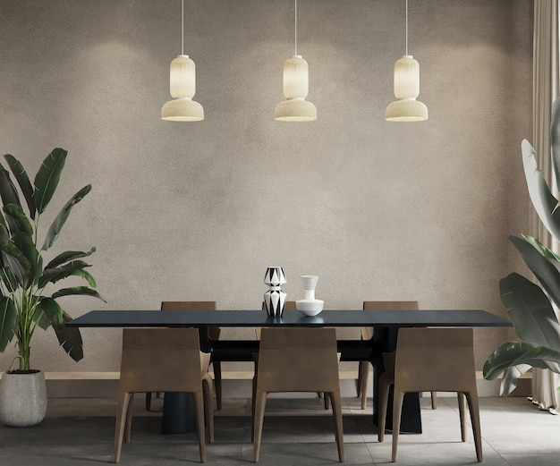 Dining room with black table and brown chairs, 3d render, wall mockup, frame mockup