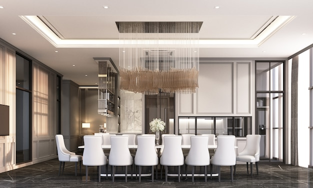 Dining room with dining chair and table on black marble floor and classic element decoration wall and ceiling 3d rendering
