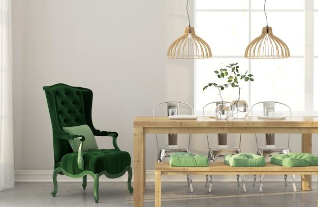 녹색 안락 의자가있는 식당