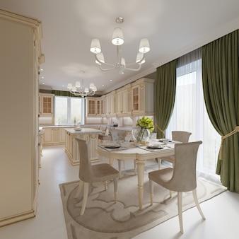 대형 테이블과 편안한 의자가 있는 식당, 3d 렌더링
