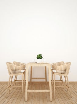 Dining room on wood design vertical picture - 3d rendering